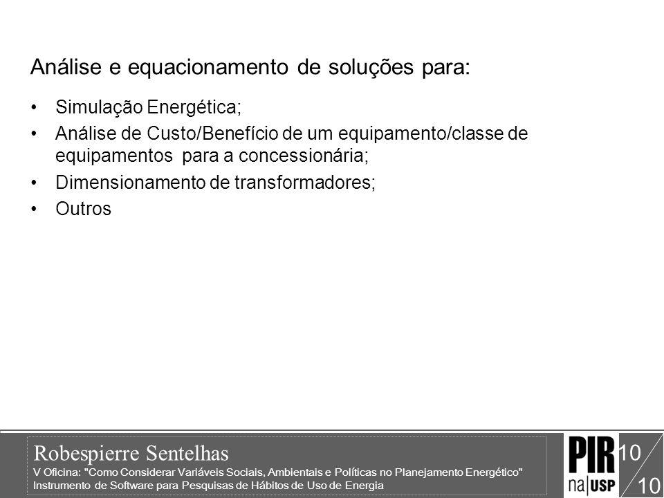 Robespierre Sentelhas V Oficina: Como Considerar Variáveis Sociais, Ambientais e Políticas no Planejamento Energético Instrumento de Software para Pesquisas de Hábitos de Uso de Energia 10 11 Exemplos: Conhecimento da Realidade Social Barghini (1999) – Santa Cruz de La Sierra