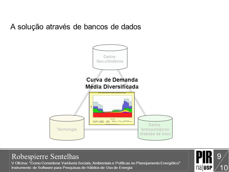Robespierre Sentelhas V Oficina: Como Considerar Variáveis Sociais, Ambientais e Políticas no Planejamento Energético Instrumento de Software para Pesquisas de Hábitos de Uso de Energia 10 Análise e equacionamento de soluções para: Simulação Energética; Análise de Custo/Benefício de um equipamento/classe de equipamentos para a concessionária; Dimensionamento de transformadores; Outros