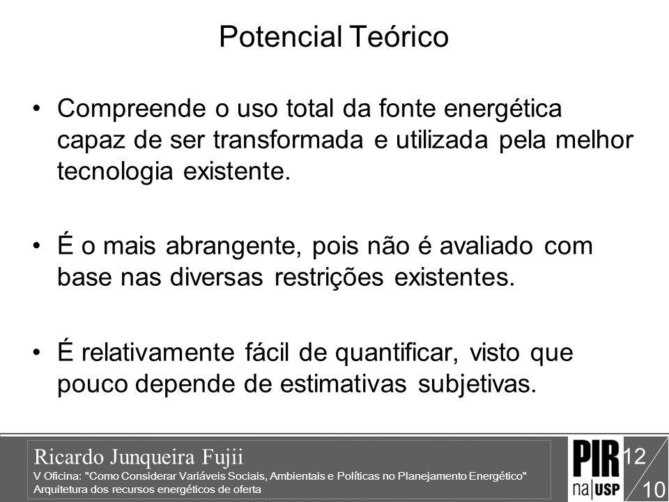 Ricardo Junqueira Fujii V Oficina: Como Considerar Variáveis Sociais, Ambientais e Políticas no Planejamento Energético Arquitetura dos recursos energéticos de oferta 10 12 Potencial Teórico Compreende o uso total da fonte energética capaz de ser transformada e utilizada pela melhor tecnologia existente.