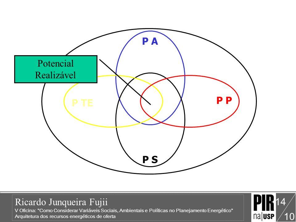 Ricardo Junqueira Fujii V Oficina: Como Considerar Variáveis Sociais, Ambientais e Políticas no Planejamento Energético Arquitetura dos recursos energéticos de oferta 10 14 P TE P A P P S Potencial Realizável