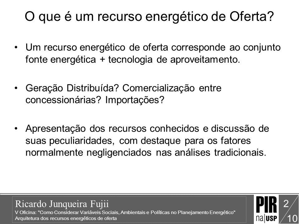 Ricardo Junqueira Fujii V Oficina: Como Considerar Variáveis Sociais, Ambientais e Políticas no Planejamento Energético Arquitetura dos recursos energéticos de oferta 10 13 Potencial Realizável Parte do potencial teórico, agregando as restrições ambientais, sociais, políticas e técnico- econômicas.