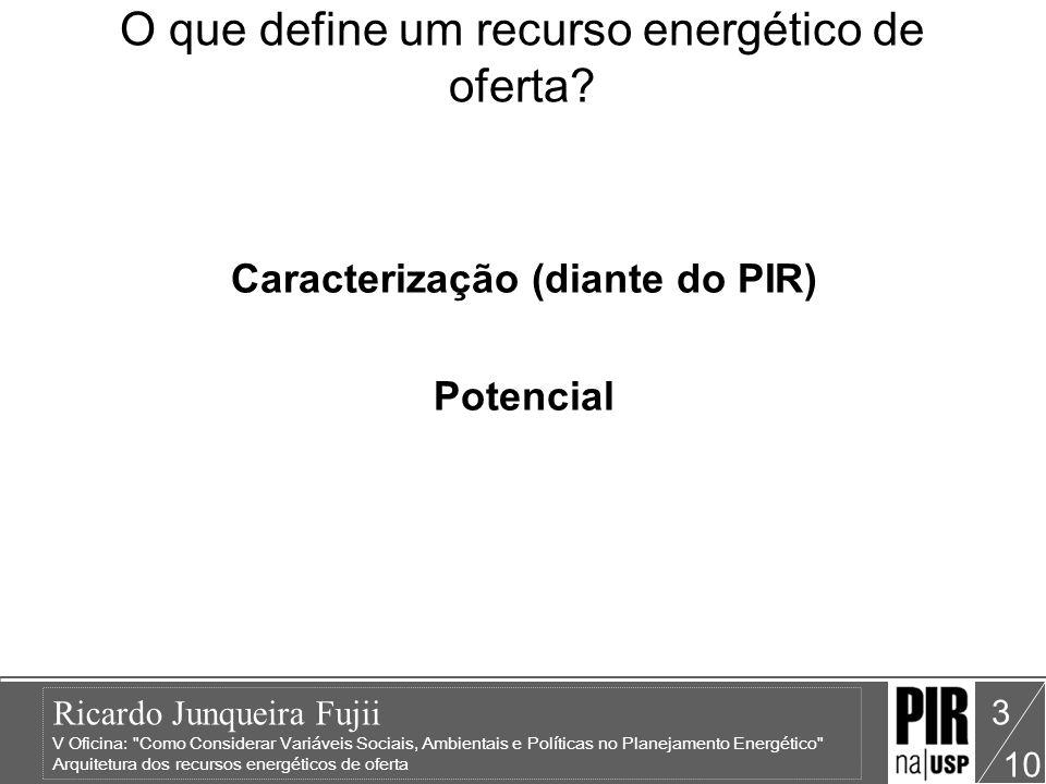 Ricardo Junqueira Fujii V Oficina: Como Considerar Variáveis Sociais, Ambientais e Políticas no Planejamento Energético Arquitetura dos recursos energéticos de oferta 10 3 O que define um recurso energético de oferta.