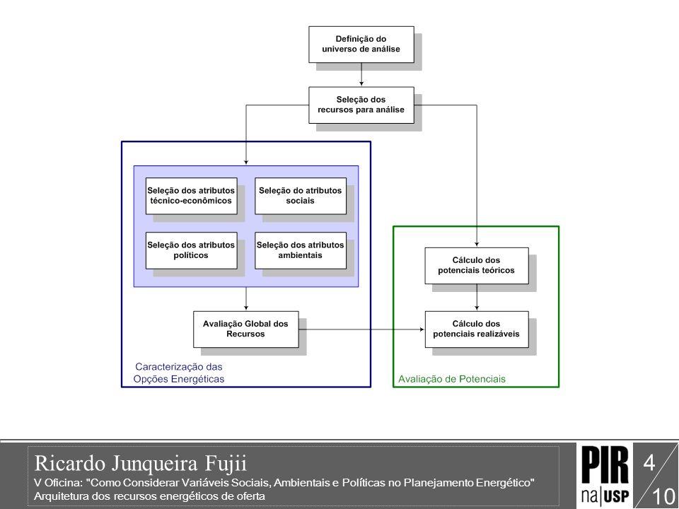 Ricardo Junqueira Fujii V Oficina: Como Considerar Variáveis Sociais, Ambientais e Políticas no Planejamento Energético Arquitetura dos recursos energéticos de oferta 10 4