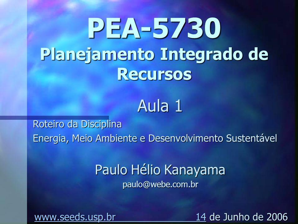 PEA-5730 Planejamento Integrado de Recursos Aula 1 Roteiro da Disciplina Energia, Meio Ambiente e Desenvolvimento Sustentável Paulo Hélio Kanayama pau