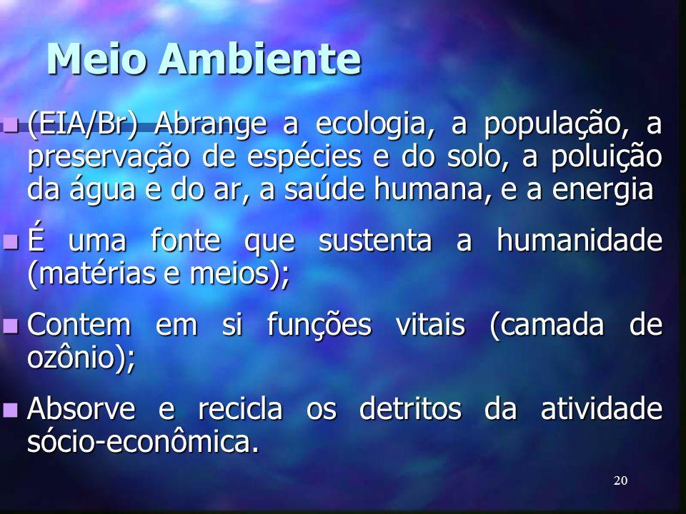 20 Meio Ambiente (EIA/Br) Abrange a ecologia, a população, a preservação de espécies e do solo, a poluição da água e do ar, a saúde humana, e a energi