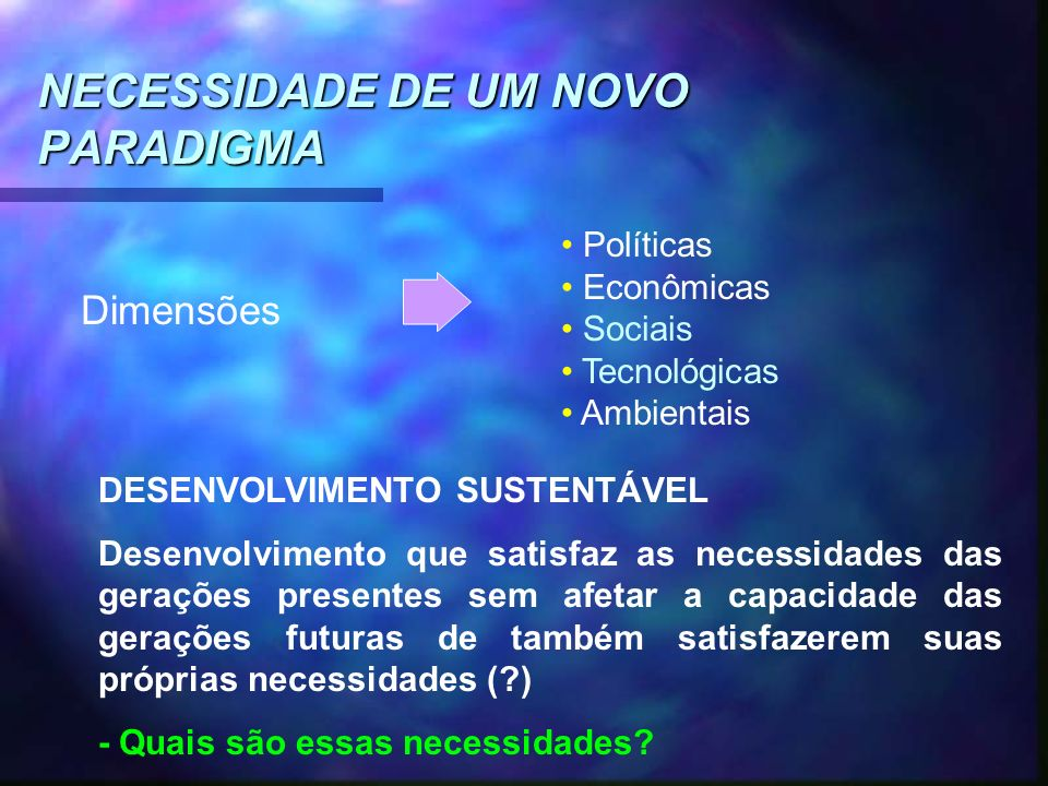 NECESSIDADE DE UM NOVO PARADIGMA Dimensões Políticas Econômicas Sociais Tecnológicas Ambientais DESENVOLVIMENTO SUSTENTÁVEL Desenvolvimento que satisf