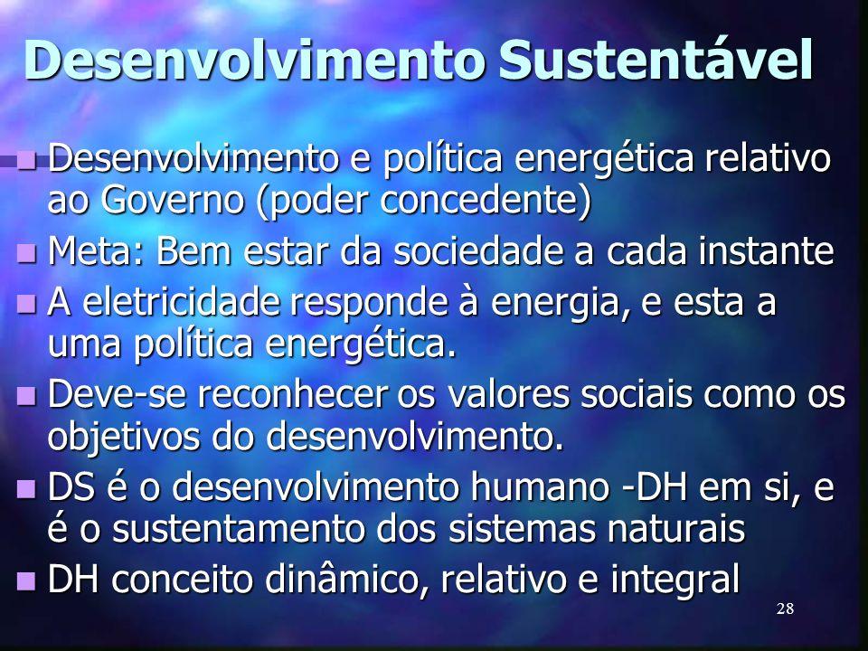 28 Desenvolvimento Sustentável Desenvolvimento e política energética relativo ao Governo (poder concedente) Desenvolvimento e política energética rela