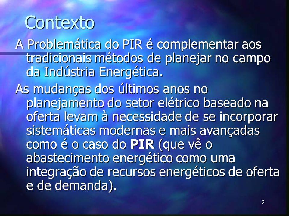 3 Contexto A Problemática do PIR é complementar aos tradicionais métodos de planejar no campo da Indústria Energética. As mudanças dos últimos anos no