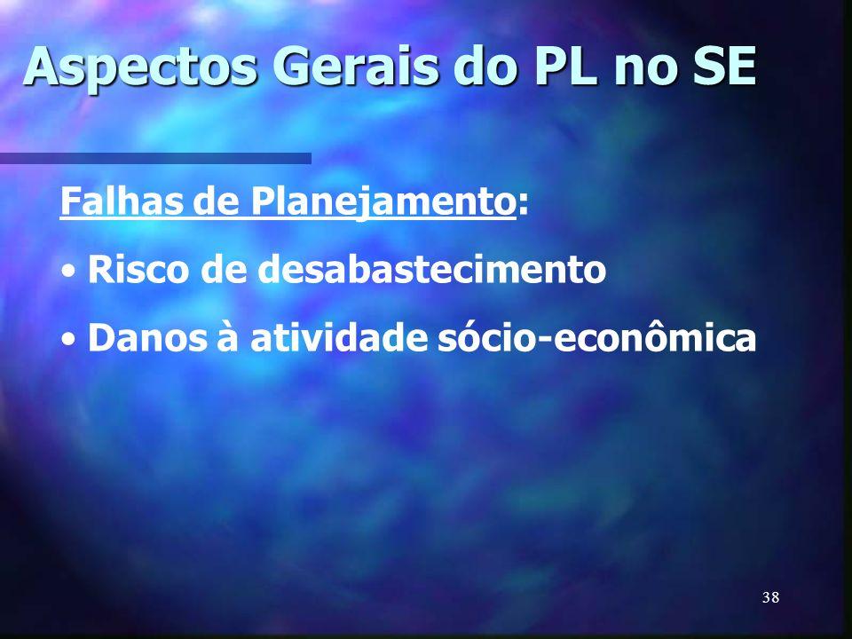 38 Falhas de Planejamento: Risco de desabastecimento Danos à atividade sócio-econômica Aspectos Gerais do PL no SE