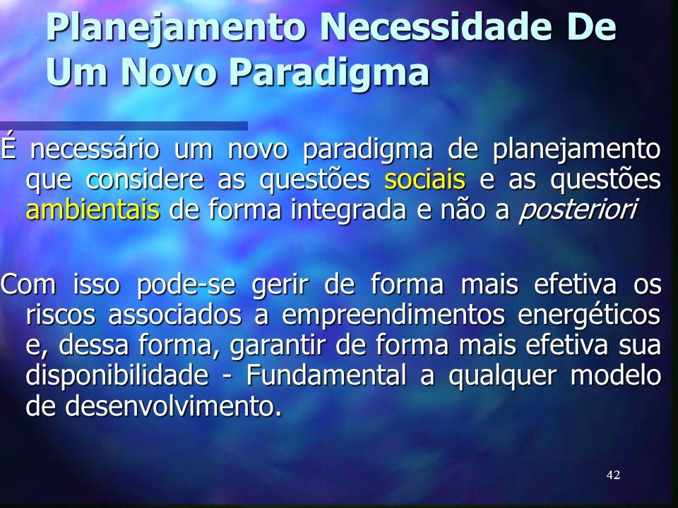 42 Planejamento Necessidade De Um Novo Paradigma É necessário um novo paradigma de planejamento que considere as questões sociais e as questões ambien