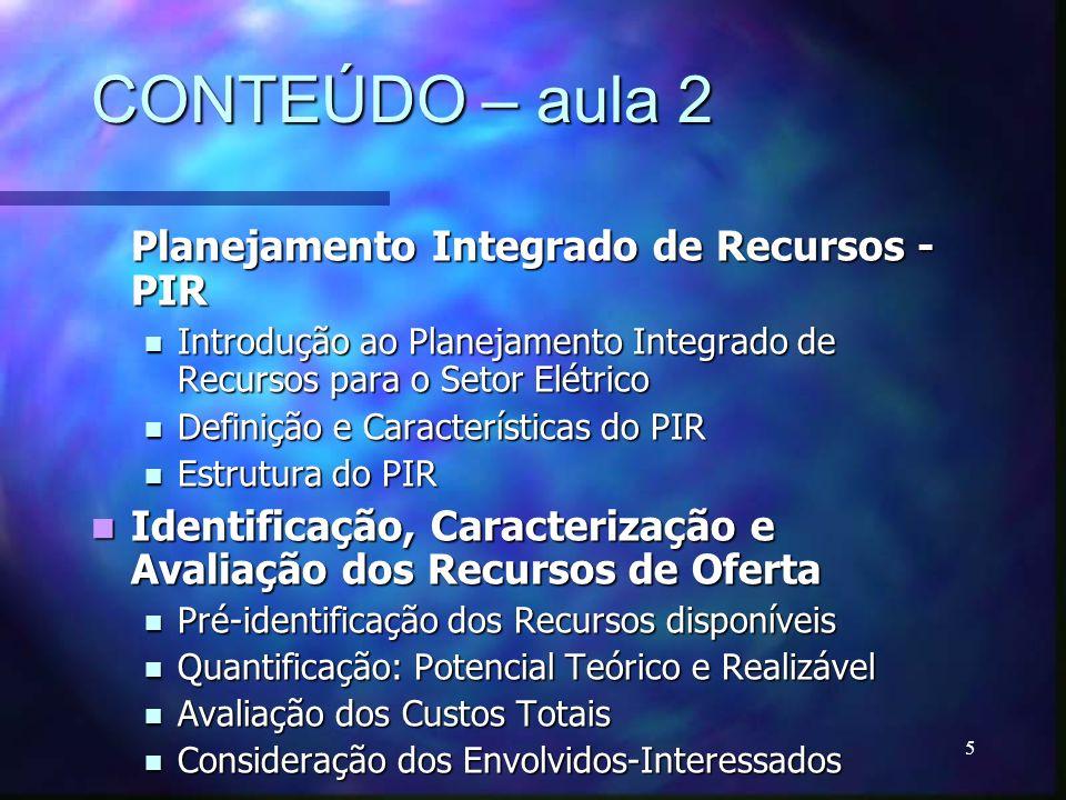 5 CONTEÚDO – aula 2 Planejamento Integrado de Recursos - PIR Introdução ao Planejamento Integrado de Recursos para o Setor Elétrico Introdução ao Plan