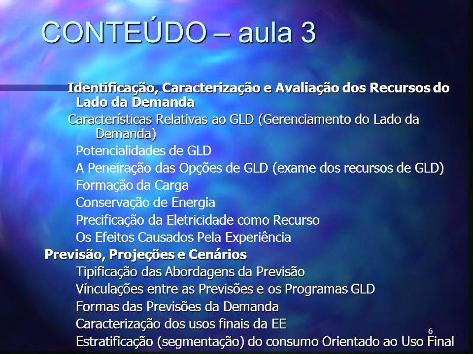 6 CONTEÚDO – aula 3 Identificação, Caracterização e Avaliação dos Recursos do Lado da Demanda Identificação, Caracterização e Avaliação dos Recursos d