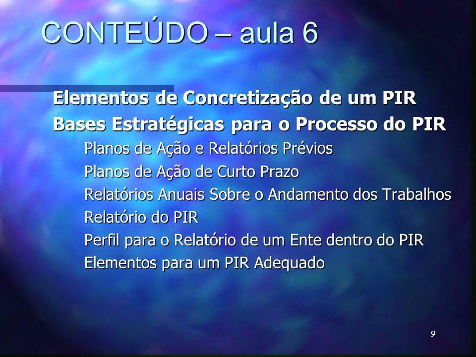 9 CONTEÚDO – aula 6 Elementos de Concretização de um PIR Bases Estratégicas para o Processo do PIR Planos de Ação e Relatórios Prévios Planos de Ação