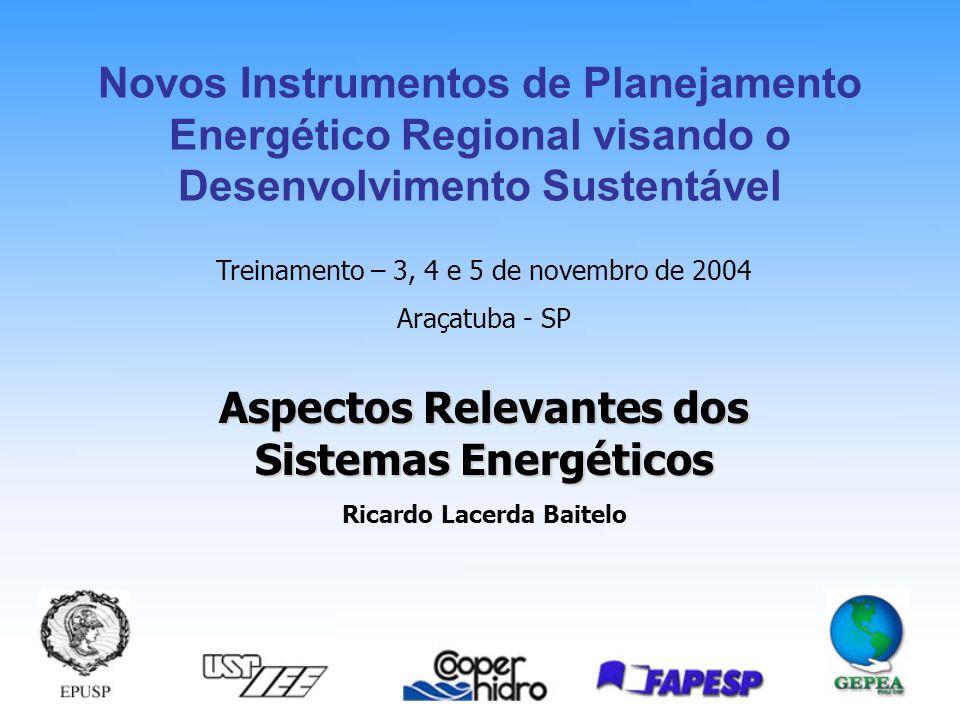 Aspectos Relevantes dos Sistemas Energéticos Ricardo Lacerda Baitelo Treinamento – 3, 4 e 5 de novembro de 2004 Araçatuba - SP Novos Instrumentos de Planejamento Energético Regional visando o Desenvolvimento Sustentável