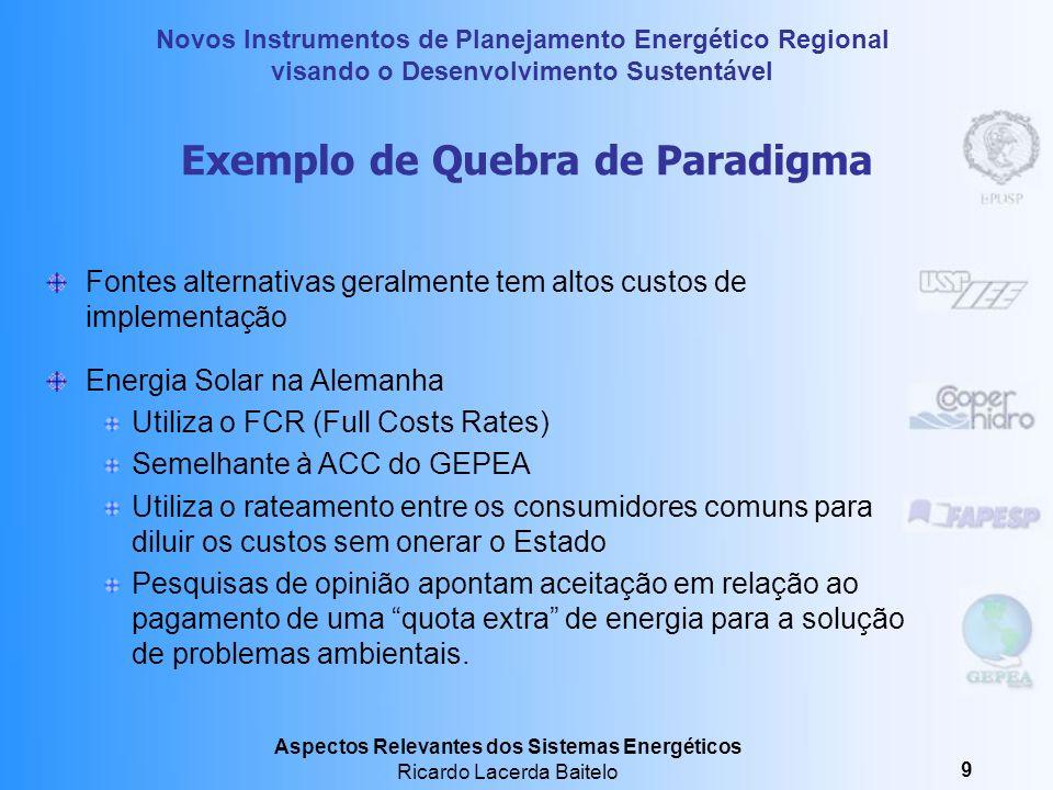 Novos Instrumentos de Planejamento Energético Regional visando o Desenvolvimento Sustentável Aspectos Relevantes dos Sistemas Energéticos Ricardo Lacerda Baitelo 19 Esquema de Referência para um Novo Modelo na Indústria Elétrica