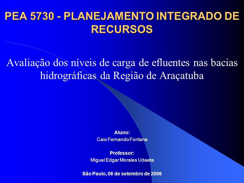 PEA 5730 - PLANEJAMENTO INTEGRADO DE RECURSOS Avaliação dos níveis de carga de efluentes nas bacias hidrográficas da Região de Araçatuba Aluno: Caio F