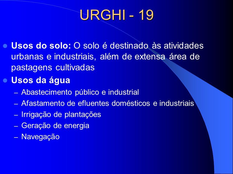 URGHI - 19 Usos do solo: O solo é destinado às atividades urbanas e industriais, além de extensa área de pastagens cultivadas Usos da água – Abastecim