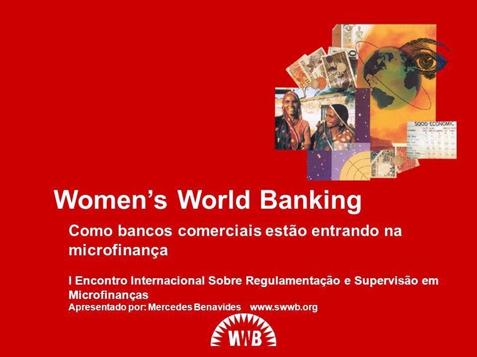 WWB mobiliza os principais bancos e instituições financeiras em todo o mundo The Global Network for Banking Innovation (GNBI) (A Rede Global de Inovação Bancária – GNBI) GNBI: 24 bancos principais que fornecem USD$7 bilhões em empréstimos para 9.6 milhões de pessoas de baixa renda Mostra que a microfinança é uma oportunidade de negócio lucrativa e uma forma de construir economias locais Compartilha inovações em instrumentos financeiros, novos produtos e tecnologias Trabalha para influenciar políticas do setor financeiro e mobiliza outros bancos para a microfinança