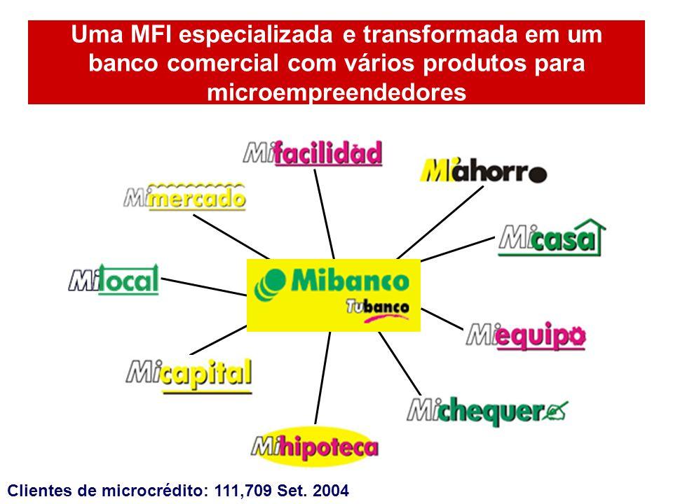Uma MFI especializada e transformada em um banco comercial com vários produtos para microempreendedores Clientes de microcrédito: 111,709 Set. 2004