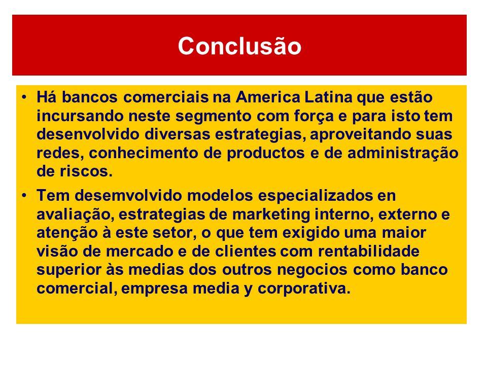 Conclusão Há bancos comerciais na America Latina que estão incursando neste segmento com força e para isto tem desenvolvido diversas estrategias, apro