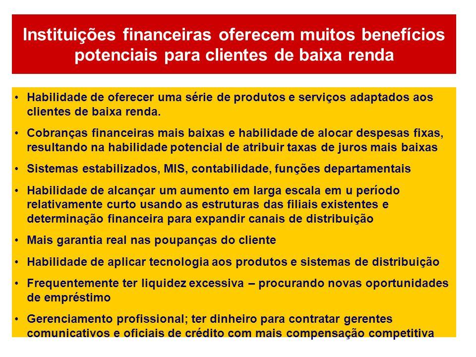 Instituições financeiras oferecem muitos benefícios potenciais para clientes de baixa renda Habilidade de oferecer uma série de produtos e serviços ad