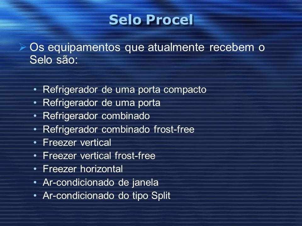 Selo Procel Os equipamentos que atualmente recebem o Selo são: Refrigerador de uma porta compacto Refrigerador de uma porta Refrigerador combinado Ref