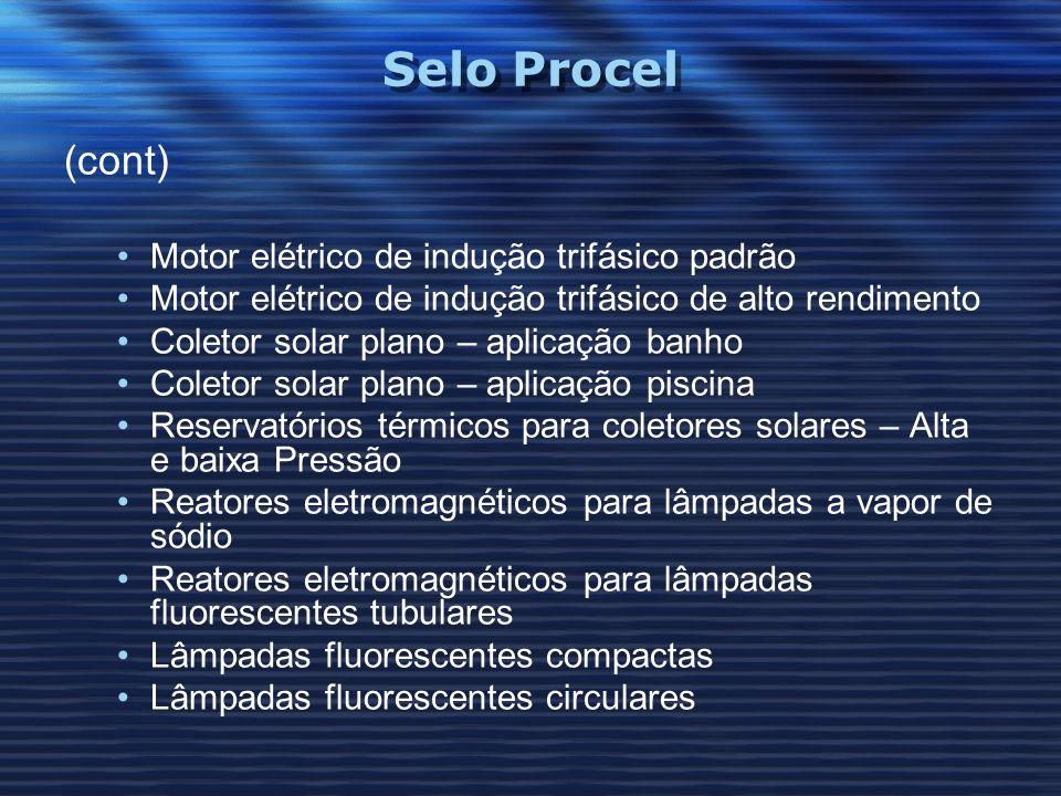 Selo Procel (cont) Motor elétrico de indução trifásico padrão Motor elétrico de indução trifásico de alto rendimento Coletor solar plano – aplicação b