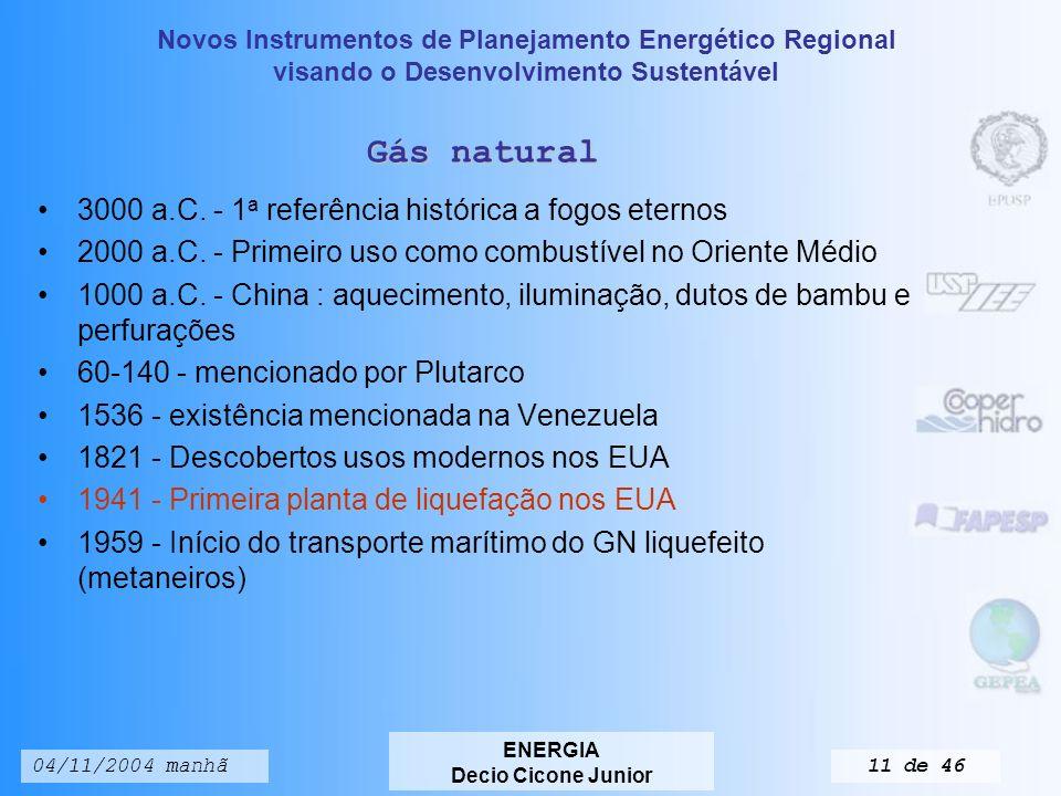 Novos Instrumentos de Planejamento Energético Regional visando o Desenvolvimento Sustentável ENERGIA Decio Cicone Junior 04/11/2004 manhã10 de 46 Petróleo 6000 a.C.
