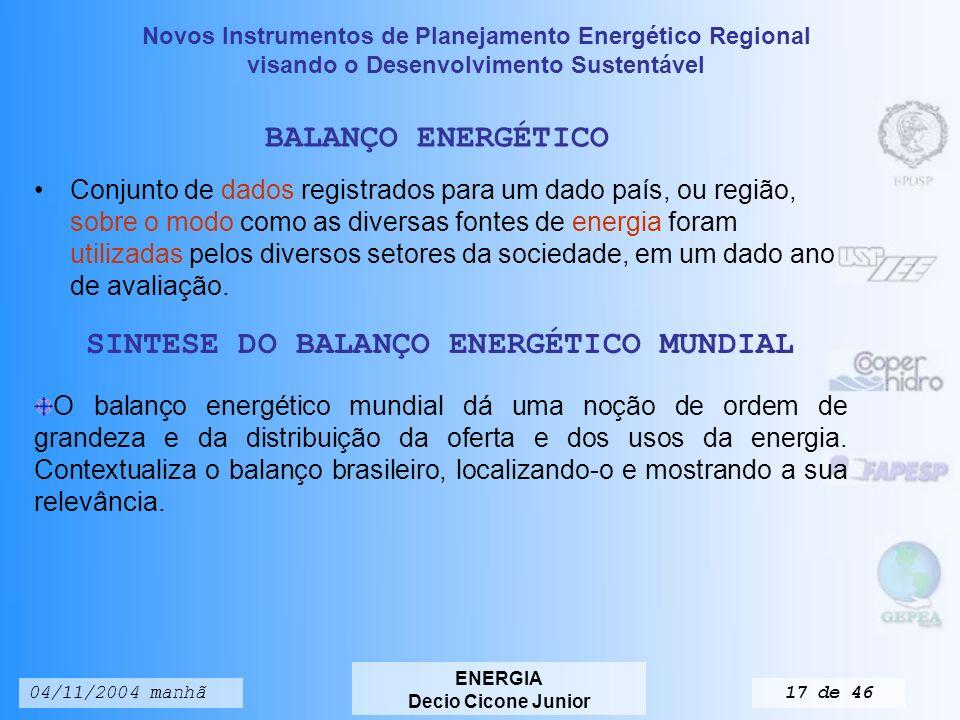 Novos Instrumentos de Planejamento Energético Regional visando o Desenvolvimento Sustentável ENERGIA Decio Cicone Junior 04/11/2004 manhã16 de 46 Tabela 3.2.