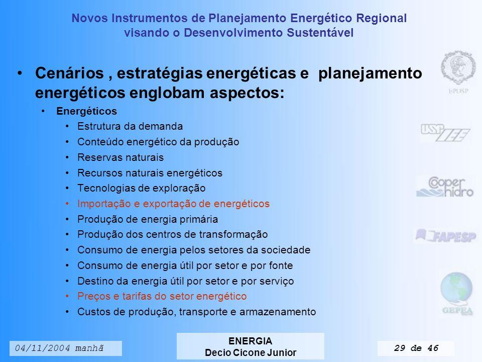 Novos Instrumentos de Planejamento Energético Regional visando o Desenvolvimento Sustentável ENERGIA Decio Cicone Junior 04/11/2004 manhã28 de 46 A MATRIZ ENERGÉTICA BRASILEIRA O balanço energético, mostra as inter-relações entre: Oferta Transformação Uso final de energia Cujo foco principal é o planejamento energético.