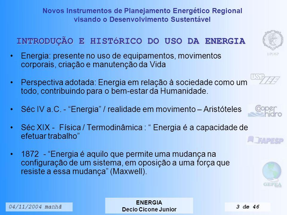 Novos Instrumentos de Planejamento Energético Regional visando o Desenvolvimento Sustentável ENERGIA Decio Cicone Junior 04/11/2004 manhã33 de 46 Tabela 3.8.