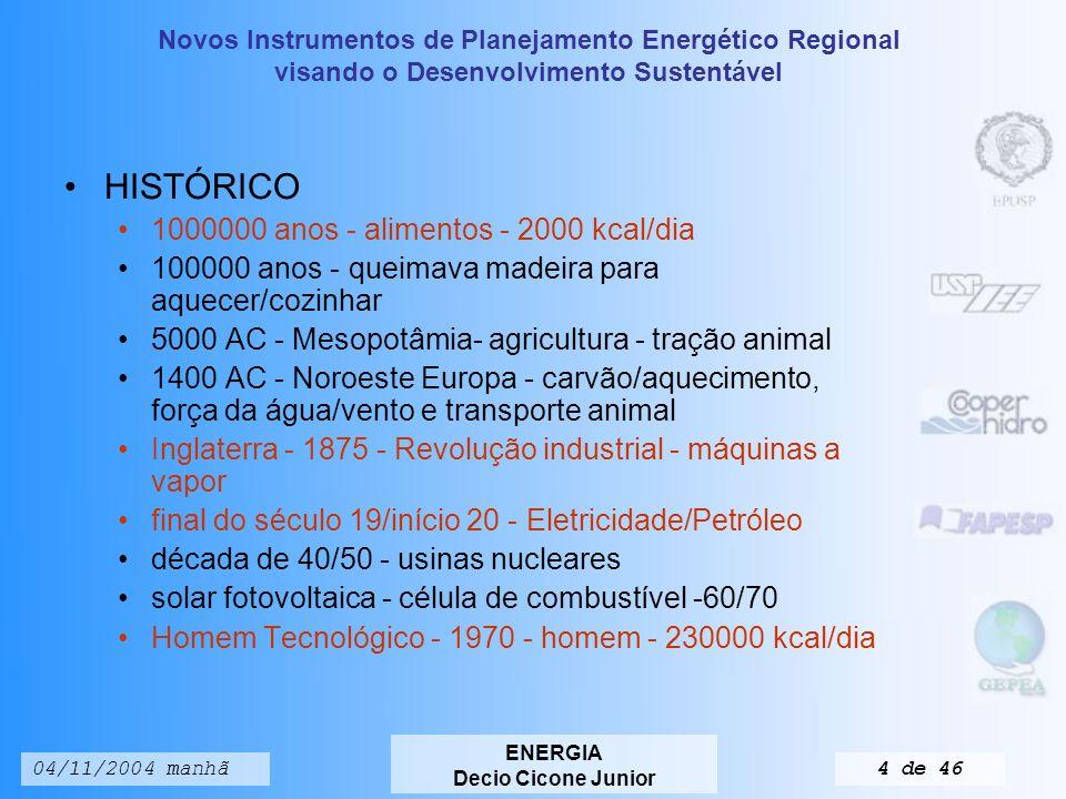 Novos Instrumentos de Planejamento Energético Regional visando o Desenvolvimento Sustentável ENERGIA Decio Cicone Junior 04/11/2004 manhã3 de 46 INTRODUÇÃO E HISTóRICO DO USO DA ENERGIA Energia: presente no uso de equipamentos, movimentos corporais, criação e manutenção da Vida Perspectiva adotada: Energia em relação à sociedade como um todo, contribuindo para o bem-estar da Humanidade.