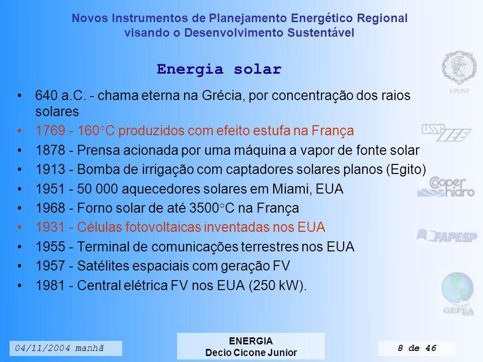 Novos Instrumentos de Planejamento Energético Regional visando o Desenvolvimento Sustentável ENERGIA Decio Cicone Junior 04/11/2004 manhã38 de 46 Países Exportações US$ Milhões Importações US$ Milhões Saldo Comercial US$ Milhões Exp+IMP/ PIB(%) Argentina25.400,09.000,016.400,031,7 Bolívia1.400,01.770,1-370,140,6 Brasil60.400,047.200,013.200,024,4 Chile18.300,015.800,02.500,051,4 Colômbia12.300,02.100,0200,030,1 Equador5.029,86.431,1-1.401,357,0 México160.700,0168.700,0-8.000,052,5 Panamá5.300,06.500,0-1.200,095,9 Paraguai944,21.556,7-612,536,2 Peru7.690,07.430,0-260,026,6 Uruguai2.056,72.200,0-143,325,8 Venezuela26.200,012.300,013.900,043,6