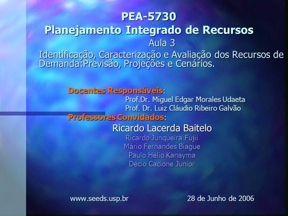 PEA-5730 Planejamento Integrado de Recursos Aula 3 Identificação, Caracterização e Avaliação dos Recursos de Demanda:Previsão, Projeções e Cenários. D