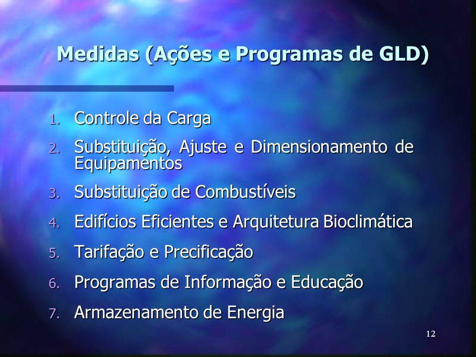 12 Medidas (Ações e Programas de GLD) 1. Controle da Carga 2. Substituição, Ajuste e Dimensionamento de Equipamentos 3. Substituição de Combustíveis 4