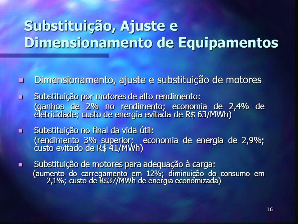 16 Substituição, Ajuste e Dimensionamento de Equipamentos Dimensionamento, ajuste e substituição de motores Dimensionamento, ajuste e substituição de