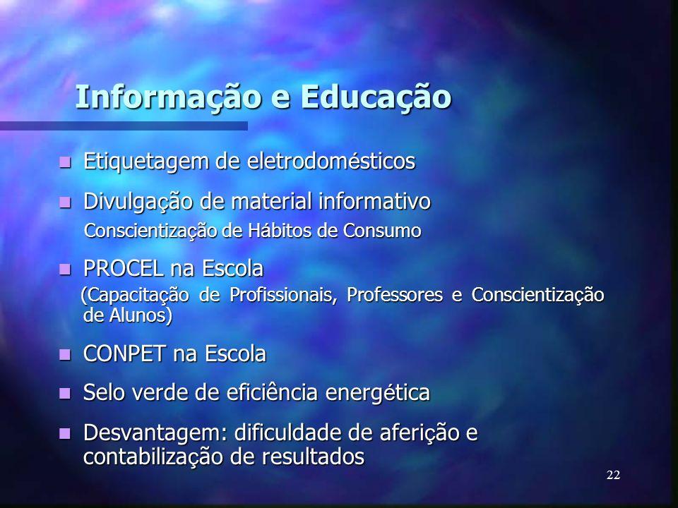 22 Informação e Educação Etiquetagem de eletrodom é sticos Etiquetagem de eletrodom é sticos Divulga ç ão de material informativo Divulga ç ão de mate