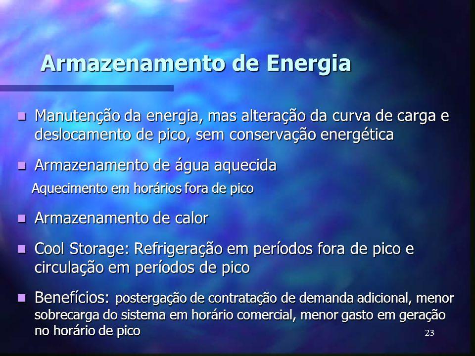 23 Armazenamento de Energia Manutenção da energia, mas alteração da curva de carga e deslocamento de pico, sem conservação energética Manutenção da en