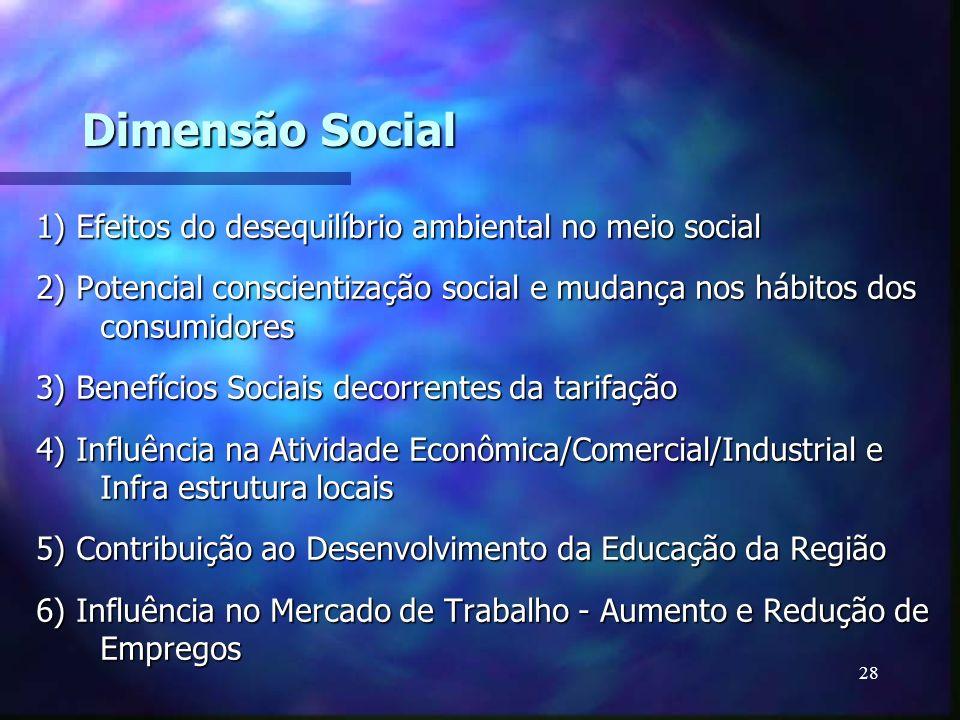 28 Dimensão Social 1) Efeitos do desequilíbrio ambiental no meio social 2) Potencial conscientização social e mudança nos hábitos dos consumidores 3)