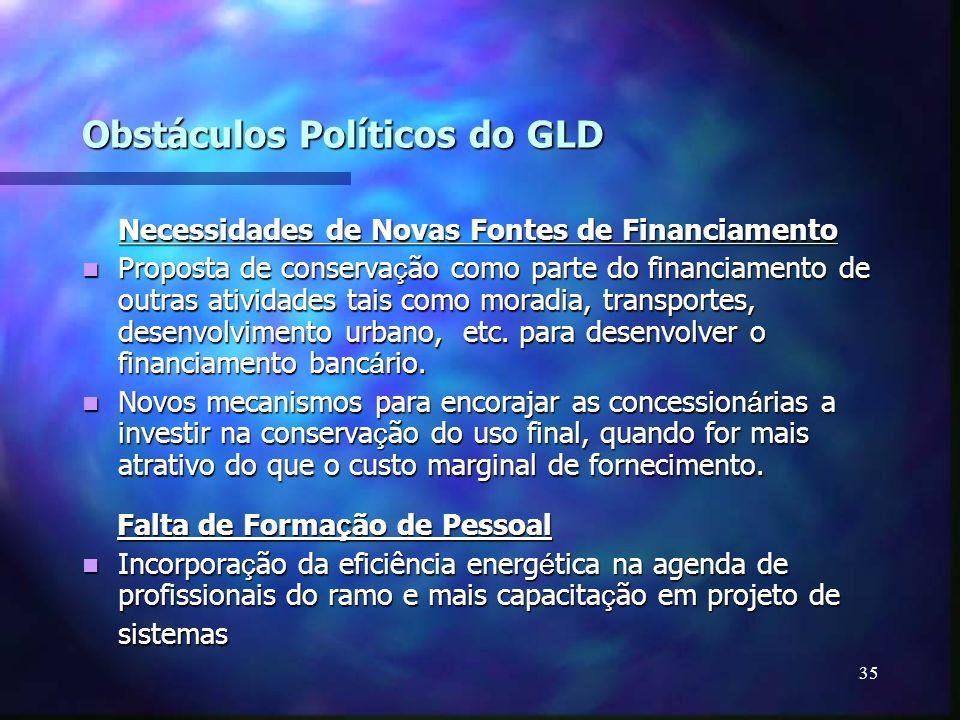 35 Obstáculos Políticos do GLD Necessidades de Novas Fontes de Financiamento Proposta de conserva ç ão como parte do financiamento de outras atividade