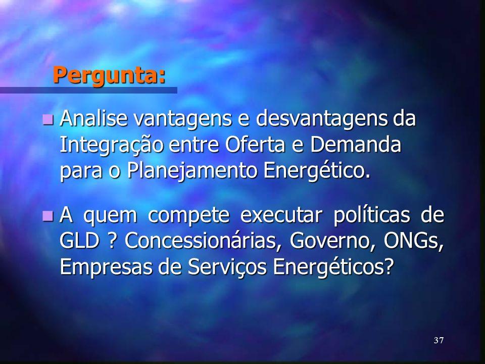 37 Pergunta: Analise vantagens e desvantagens da Integração entre Oferta e Demanda para o Planejamento Energético. Analise vantagens e desvantagens da