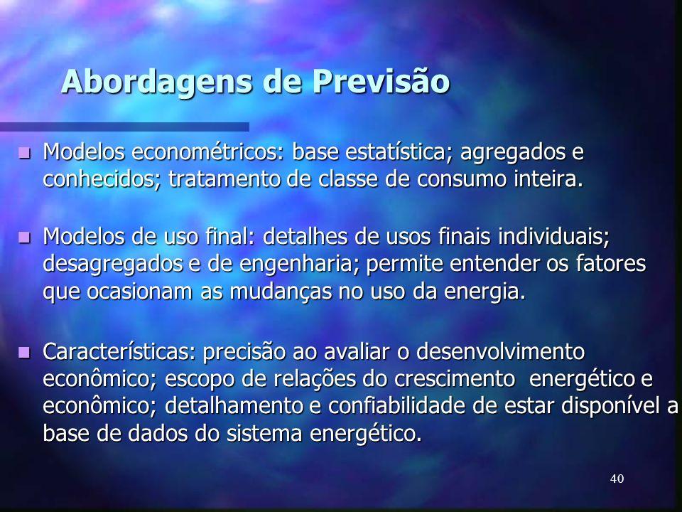 40 Abordagens de Previsão Modelos econométricos: base estatística; agregados e conhecidos; tratamento de classe de consumo inteira. Modelos econométri