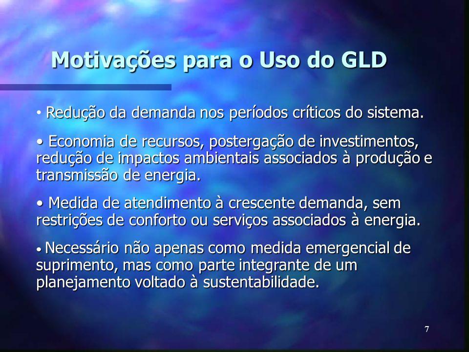 7 Motivações para o Uso do GLD Redução da demanda nos períodos críticos do sistema. Economia de recursos, postergação de investimentos, redução de imp