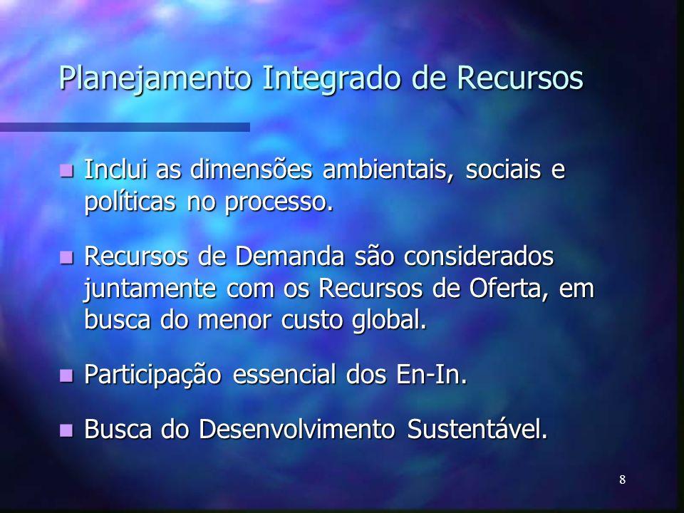 8 Planejamento Integrado de Recursos Inclui as dimensões ambientais, sociais e políticas no processo. Inclui as dimensões ambientais, sociais e políti