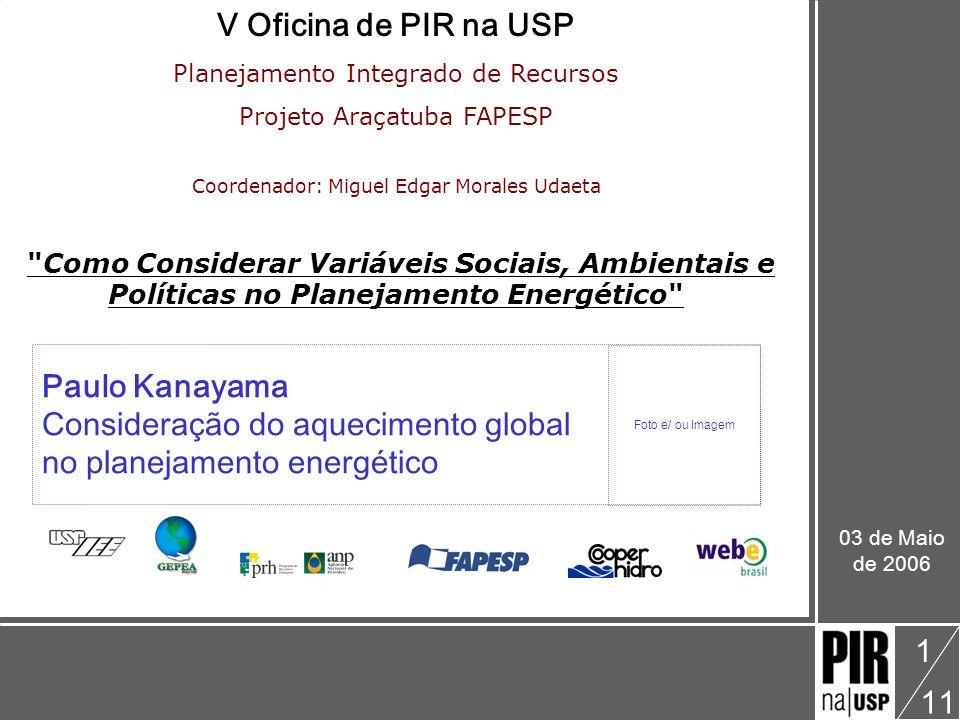 Paulo Kanayama V Oficina: Como Considerar Variáveis Sociais, Ambientais e Políticas no Planejamento Energético Consideração do aquecimento global no planejamento energético 11 2 Apresentação Programas Institucionais da USP Energia: PURE »http://www.pure.usp.brhttp://www.pure.usp.br Materiais: USP Recicla »http://www.cecae.usp.br/reciclahttp://www.cecae.usp.br/recicla Água: Programa de Uso Racional da Água »http://www.pura.poli.usp.brhttp://www.pura.poli.usp.br Planejamento Energético: PIR »http://www.seeds.usp.br/pirhttp://www.seeds.usp.br/pir Membros do GTMDL & CS: IEE Poli FAU IPT