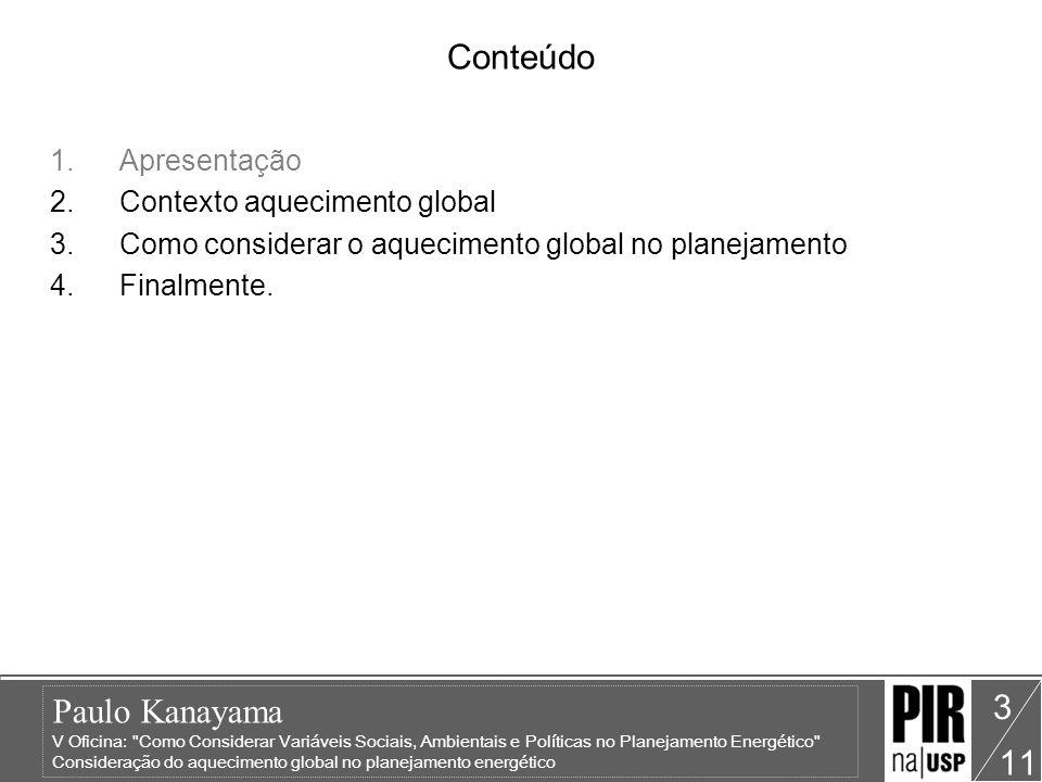 Paulo Kanayama V Oficina: Como Considerar Variáveis Sociais, Ambientais e Políticas no Planejamento Energético Consideração do aquecimento global no planejamento energético 11 4 PIR Recursos de oferta Técnico-econômicas Sociais Políticas Ambientais EN-IN Aquecimento global Planejamento Energético Técnico-econômicas Sociais Políticas Ambientais EN-IN Recursos de demanda Técnico-econômicas Sociais Políticas Ambientais EN-IN