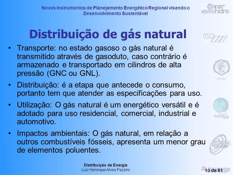 Novos Instrumentos de Planejamento Energético Regional visando o Desenvolvimento Sustentável Distribuição de Energia Luiz Henrique Alves Pazzini 9 de