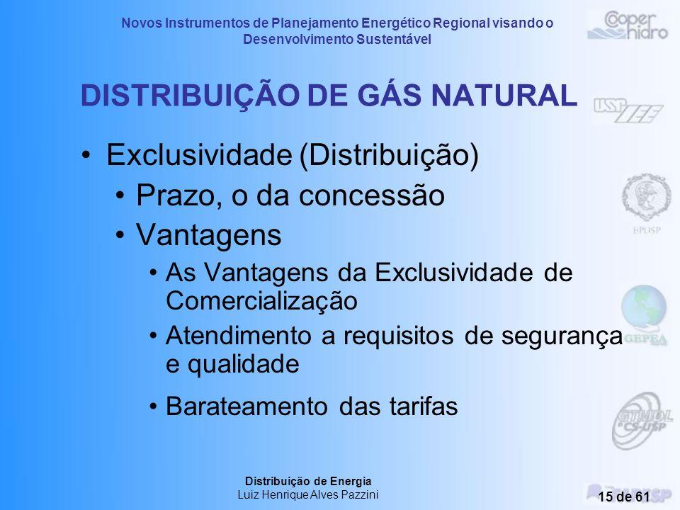 Novos Instrumentos de Planejamento Energético Regional visando o Desenvolvimento Sustentável Distribuição de Energia Luiz Henrique Alves Pazzini 14 de