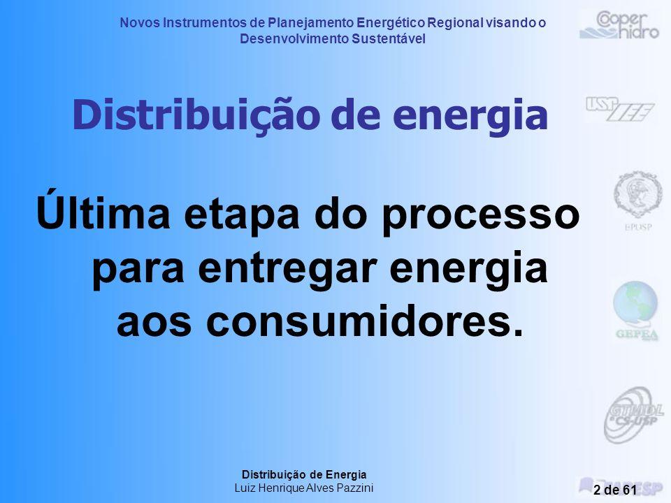 Novos Instrumentos de Planejamento Energético Regional visando o Desenvolvimento Sustentável Distribuição de Energia Luiz Henrique Alves Pazzini 22 de 61