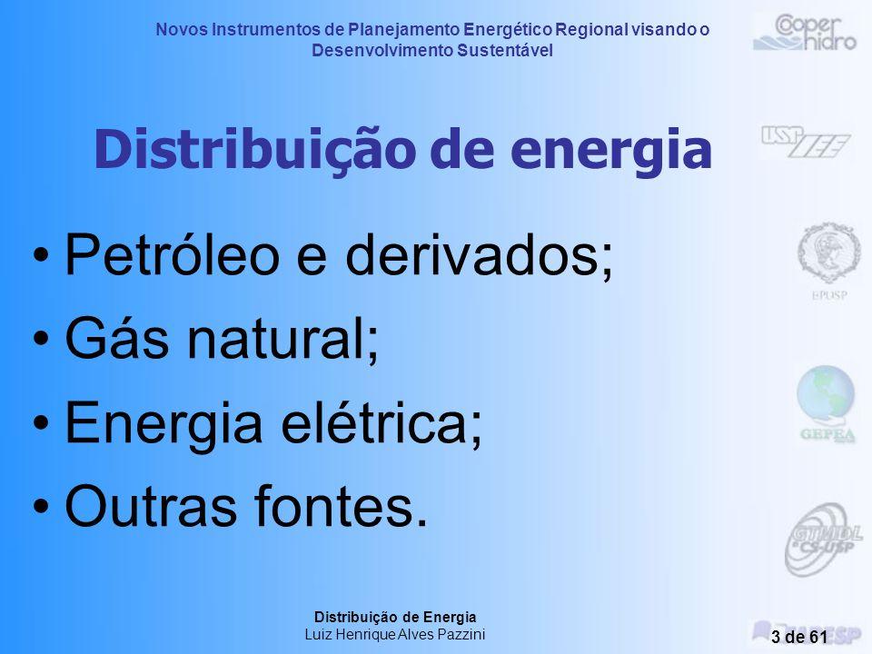 Novos Instrumentos de Planejamento Energético Regional visando o Desenvolvimento Sustentável Distribuição de Energia Luiz Henrique Alves Pazzini 3 de 61 Distribuição de energia Petróleo e derivados; Gás natural; Energia elétrica; Outras fontes.